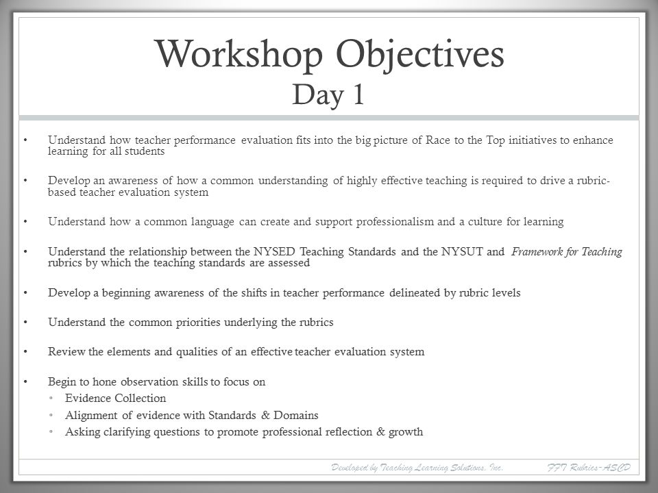 Workshop Objectives Day 1