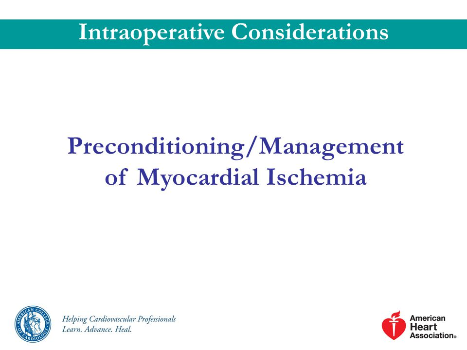 Preconditioning/Management of Myocardial Ischemia