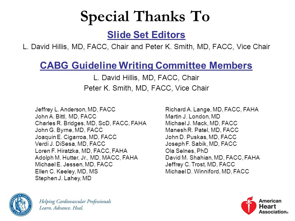 CABG Guideline Writing Committee Members