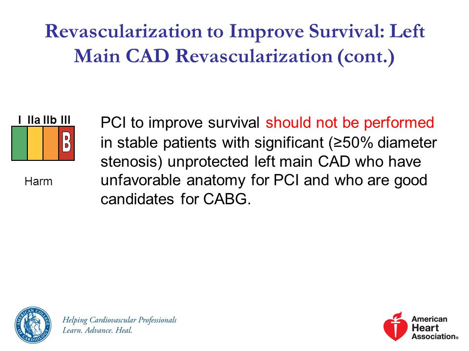 Revascularization to Improve Survival: Left Main CAD Revascularization (cont.)