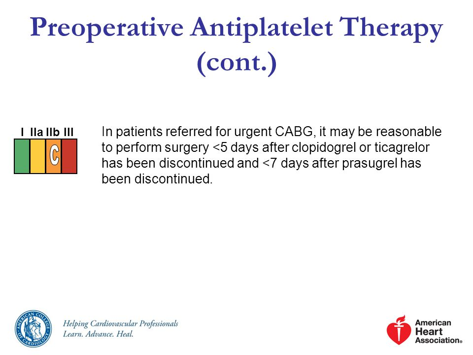 Preoperative Antiplatelet Therapy (cont.)