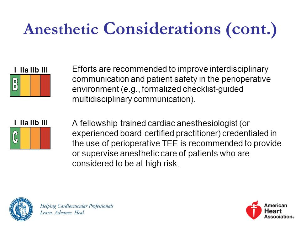 Anesthetic Considerations (cont.)