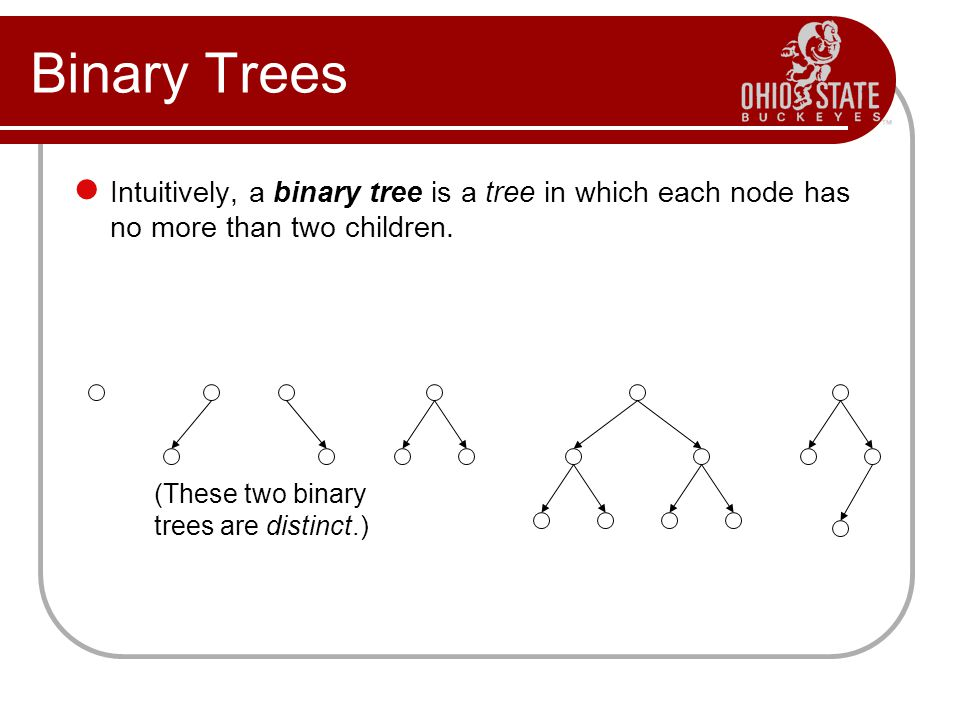 Binary Trees Intuitively, a binary tree is a tree in which each node has no more than two children.