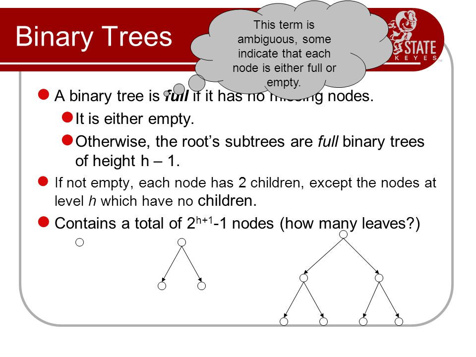 Binary Trees A binary tree is full if it has no missing nodes.