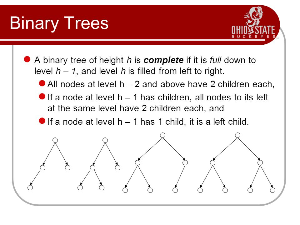 Binary Trees A binary tree of height h is complete if it is full down to level h – 1, and level h is filled from left to right.