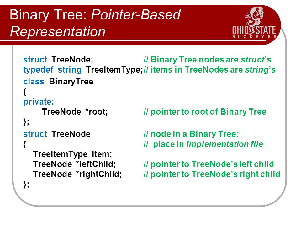 Binary Tree: Pointer-Based Representation