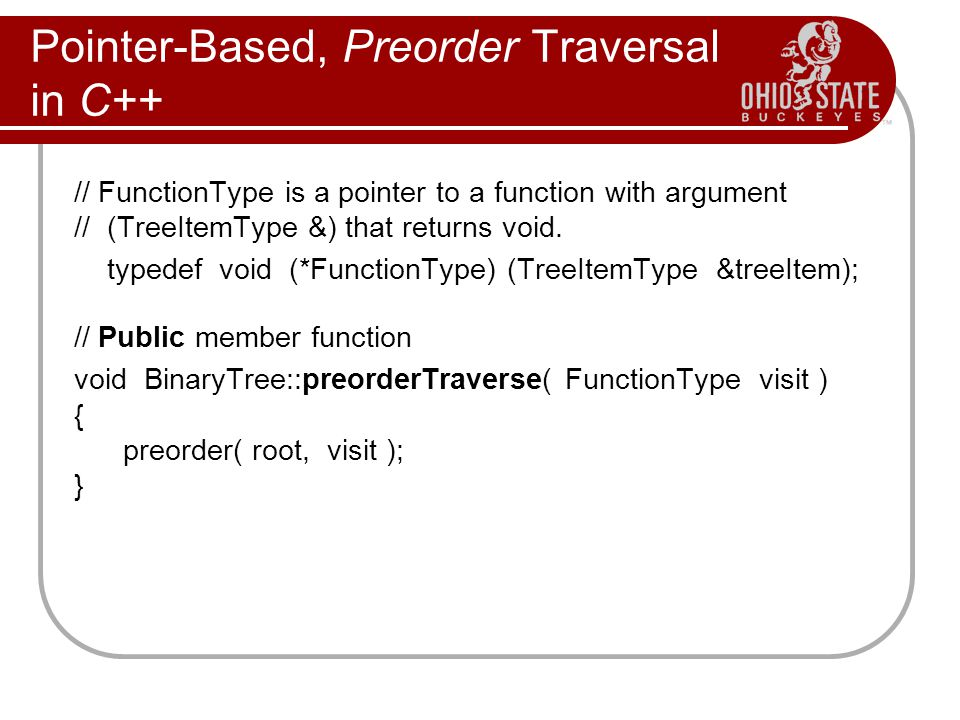 Pointer-Based, Preorder Traversal in C++