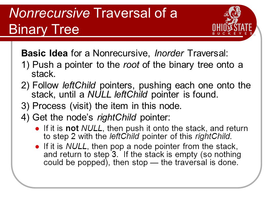 Nonrecursive Traversal of a Binary Tree