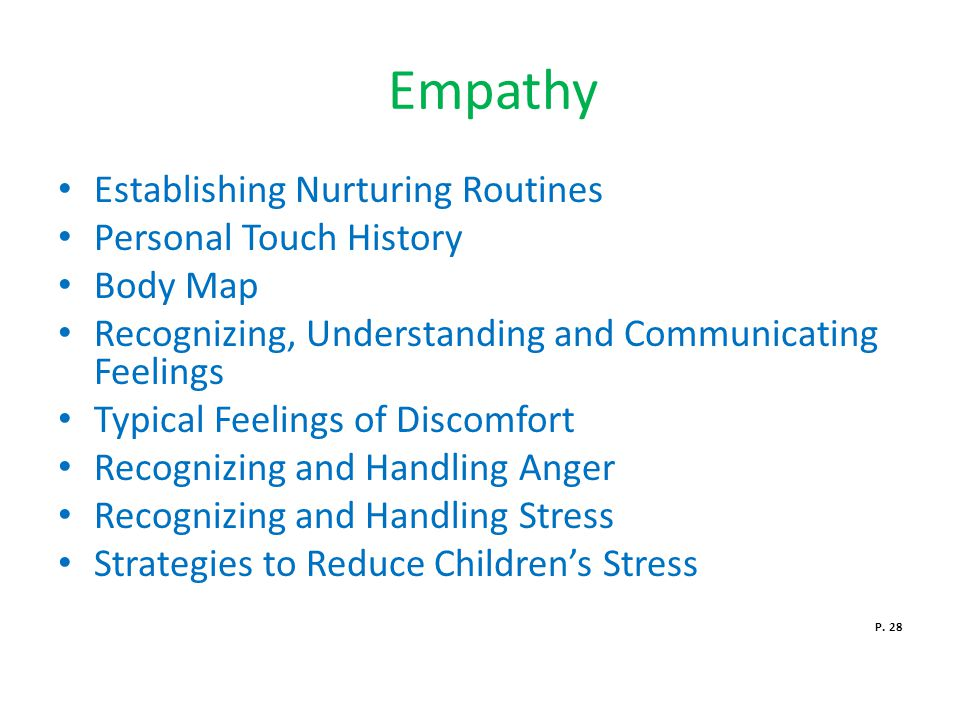 Empathy Establishing Nurturing Routines Personal Touch History