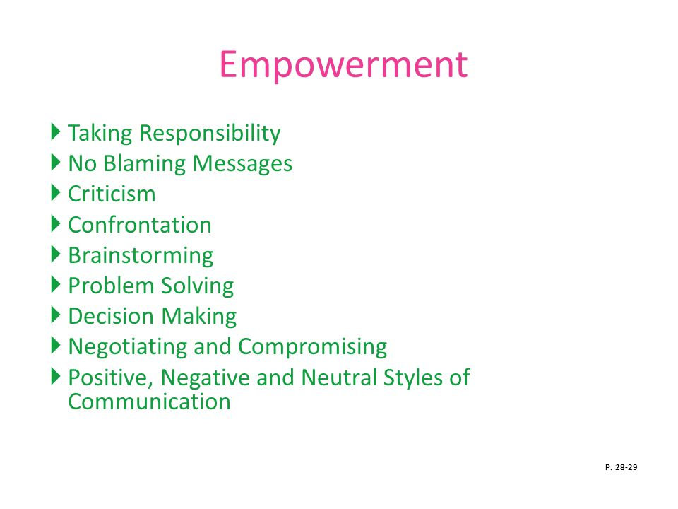Empowerment Taking Responsibility No Blaming Messages Criticism