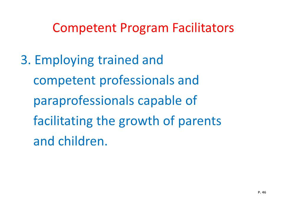 Competent Program Facilitators