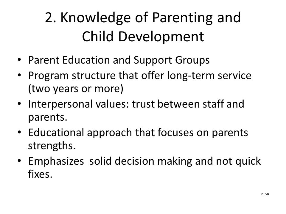 2. Knowledge of Parenting and Child Development
