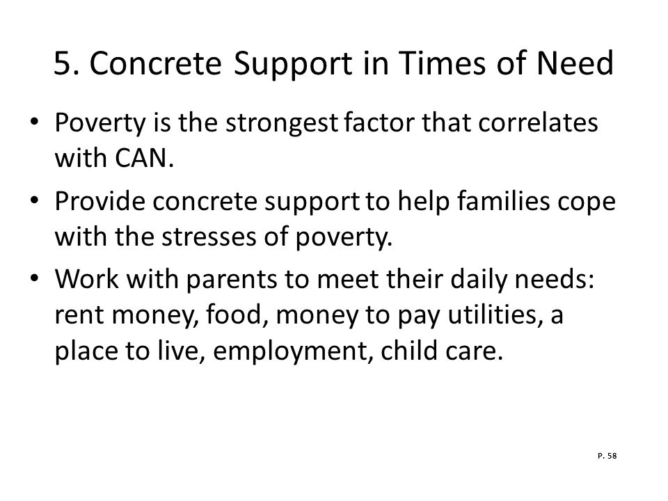 5. Concrete Support in Times of Need