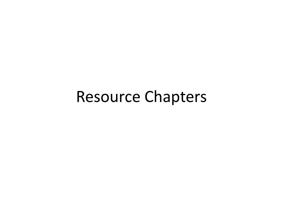 Resource Chapters