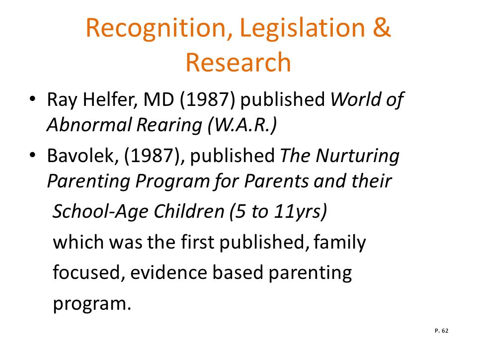 Recognition, Legislation & Research