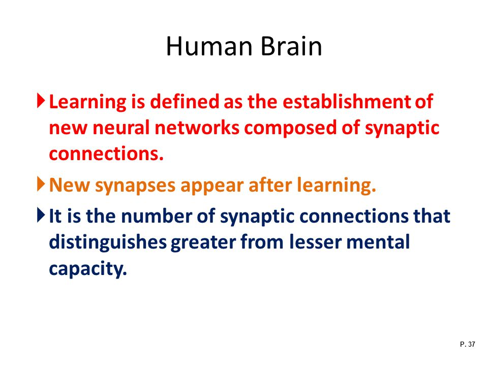Human Brain Learning is defined as the establishment of new neural networks composed of synaptic connections.