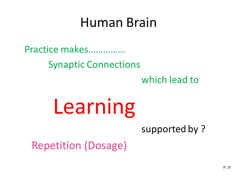 Human Brain Practice makes…………… Synaptic Connections which lead to