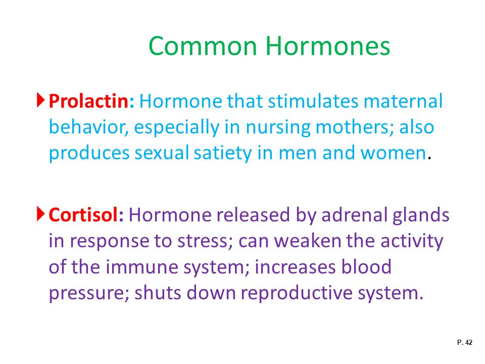 Common Hormones Prolactin: Hormone that stimulates maternal behavior, especially in nursing mothers; also produces sexual satiety in men and women.