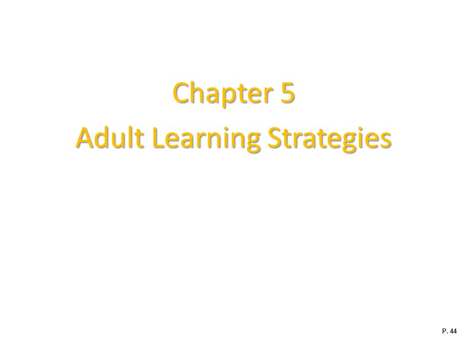 Adult Learning Strategies