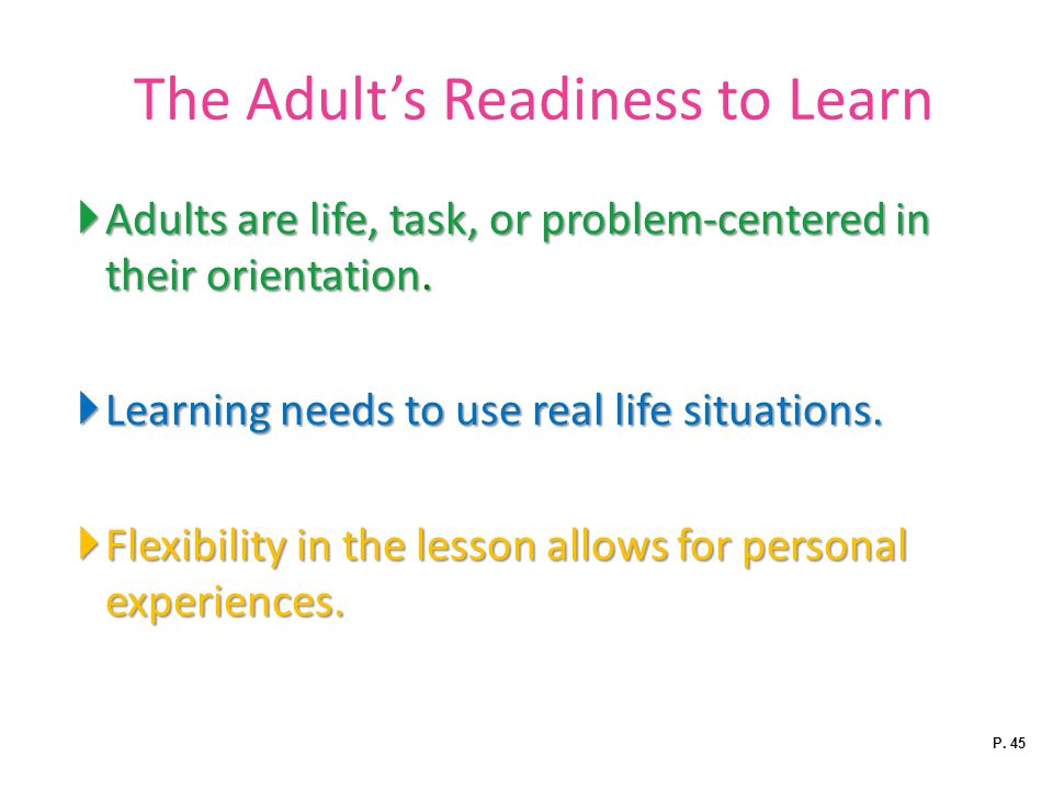 The Adult's Readiness to Learn