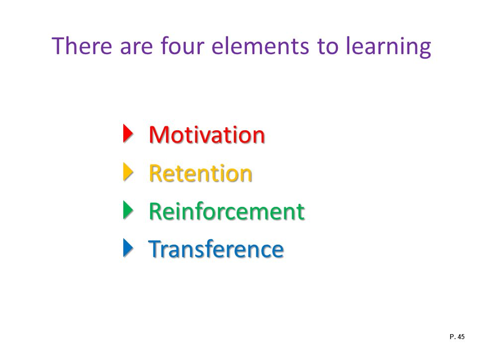 There are four elements to learning
