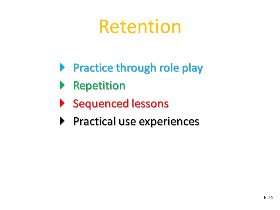 Retention Practice through role play Repetition Sequenced lessons