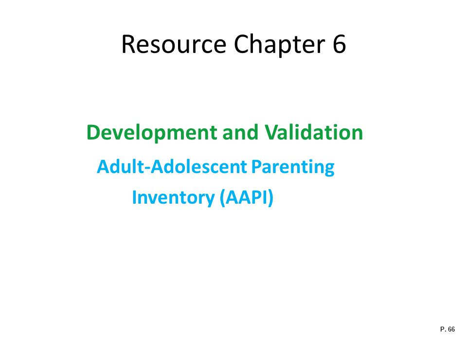Resource Chapter 6 Development and Validation