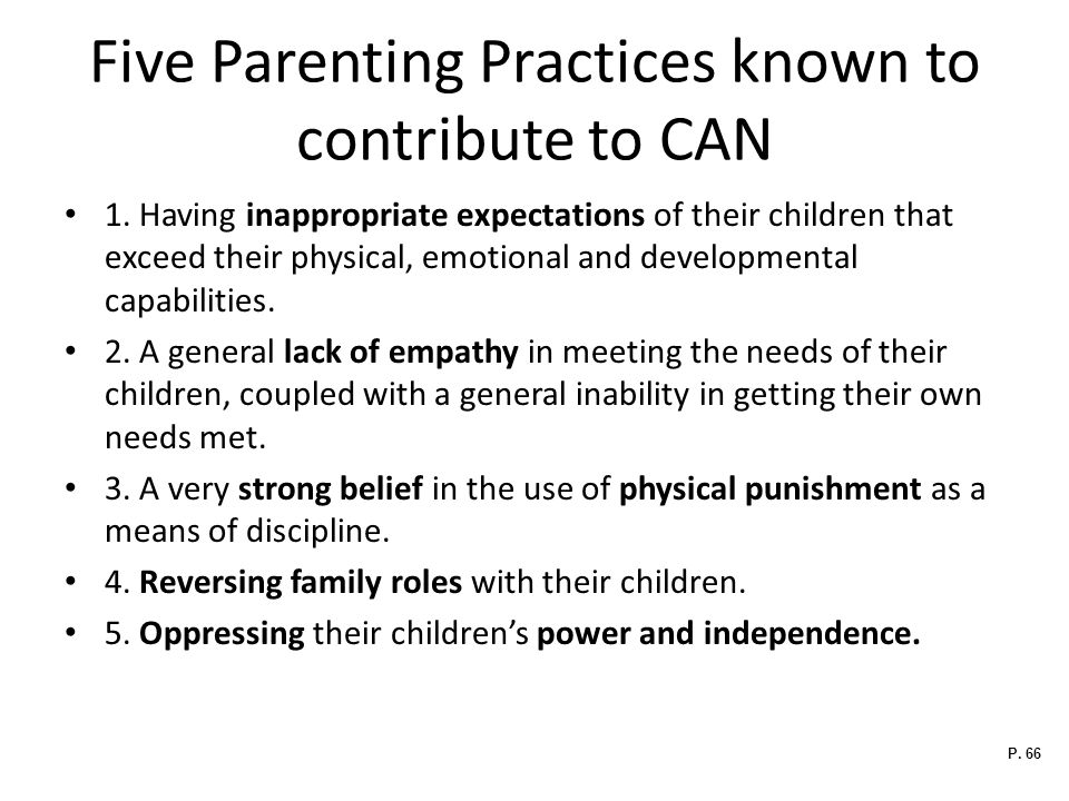 Five Parenting Practices known to contribute to CAN