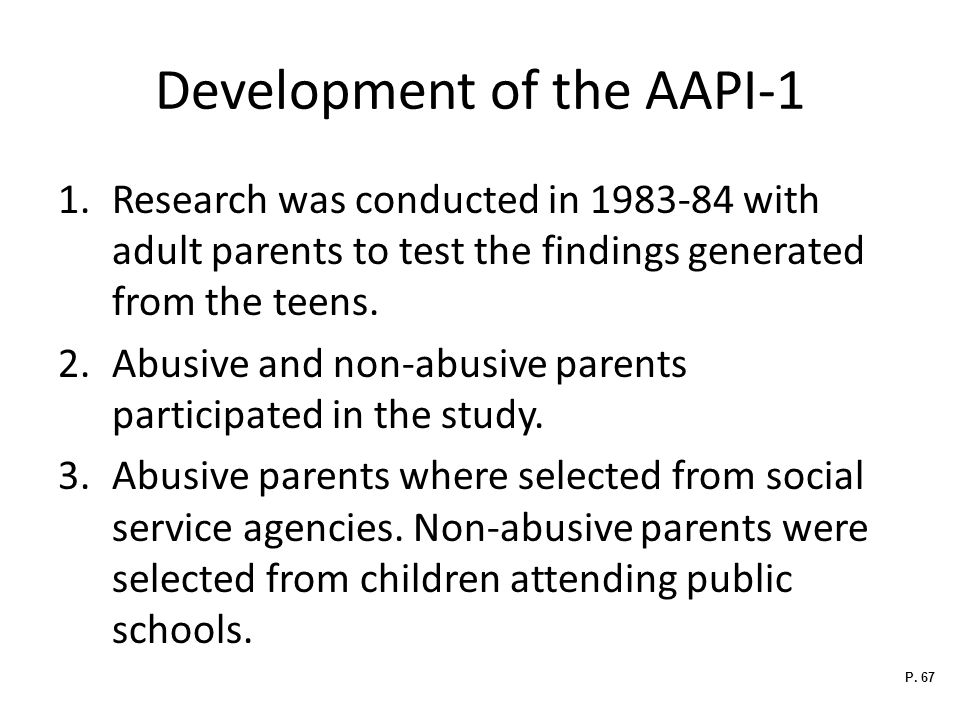 Development of the AAPI-1