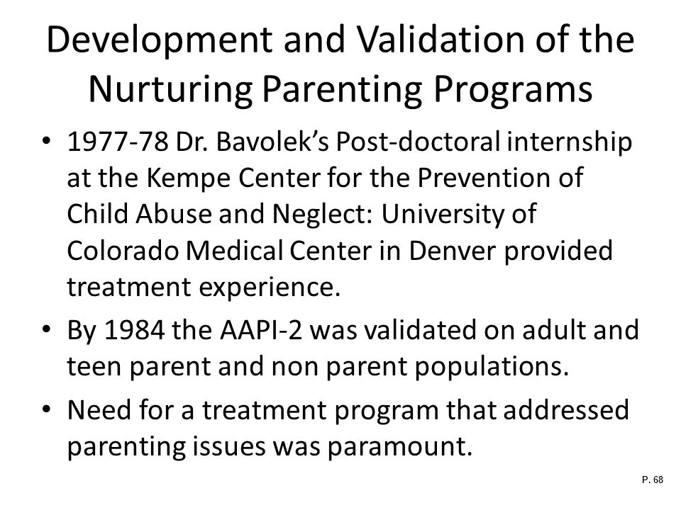 Development and Validation of the Nurturing Parenting Programs