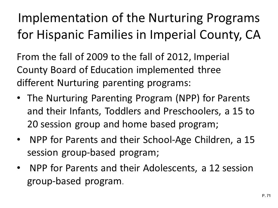 Implementation of the Nurturing Programs for Hispanic Families in Imperial County, CA