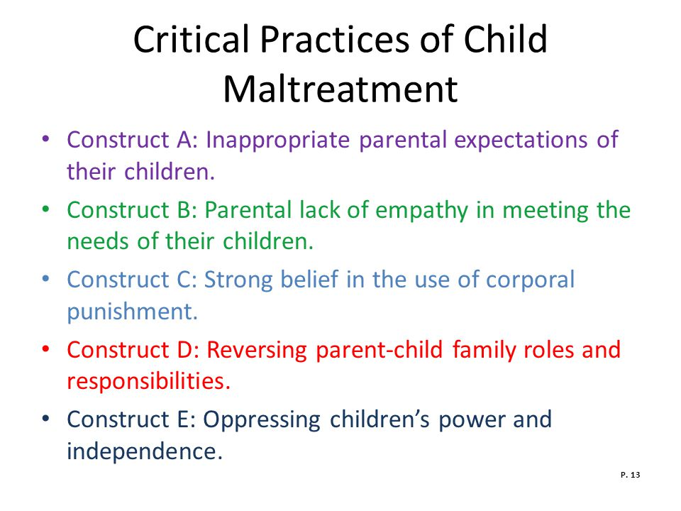 Critical Practices of Child Maltreatment