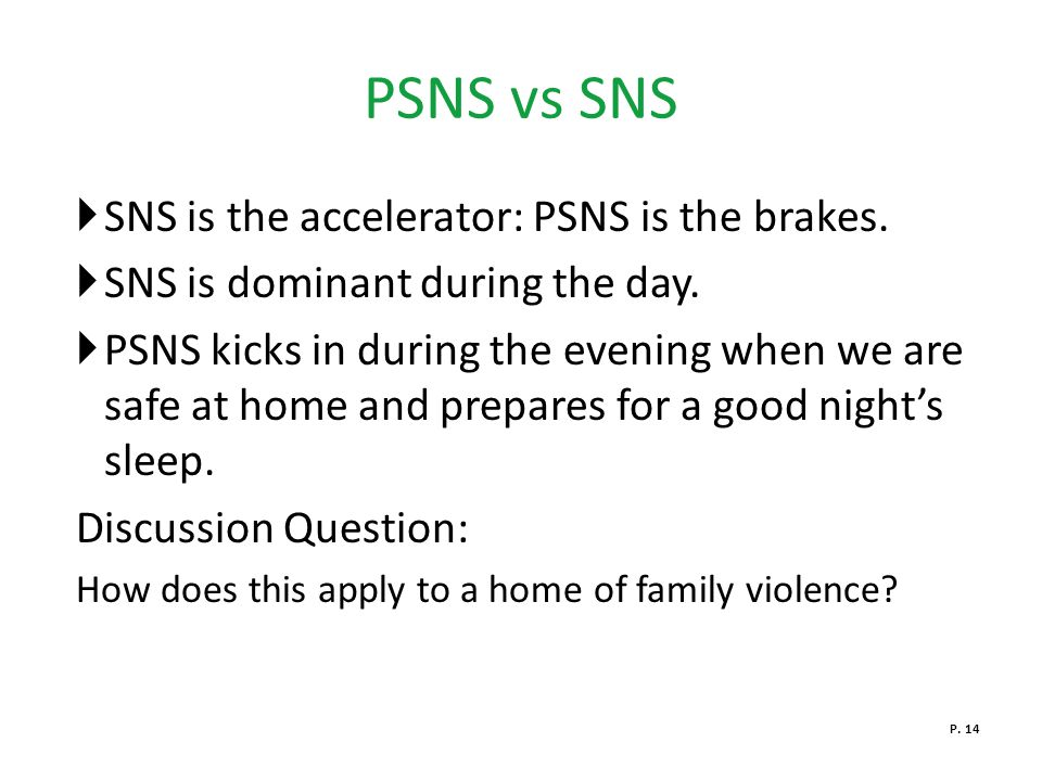 PSNS vs SNS SNS is the accelerator: PSNS is the brakes.