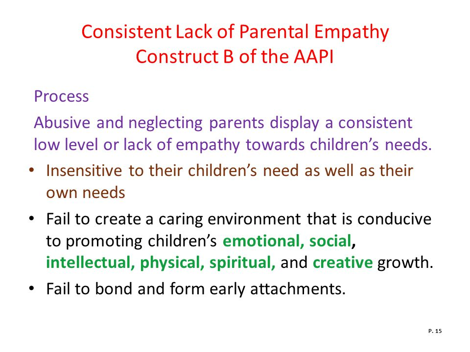 Consistent Lack of Parental Empathy Construct B of the AAPI