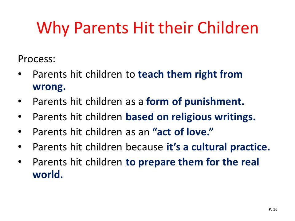 Why Parents Hit their Children