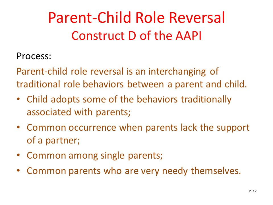 Parent-Child Role Reversal Construct D of the AAPI