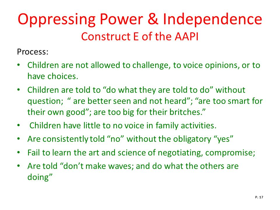 Oppressing Power & Independence Construct E of the AAPI