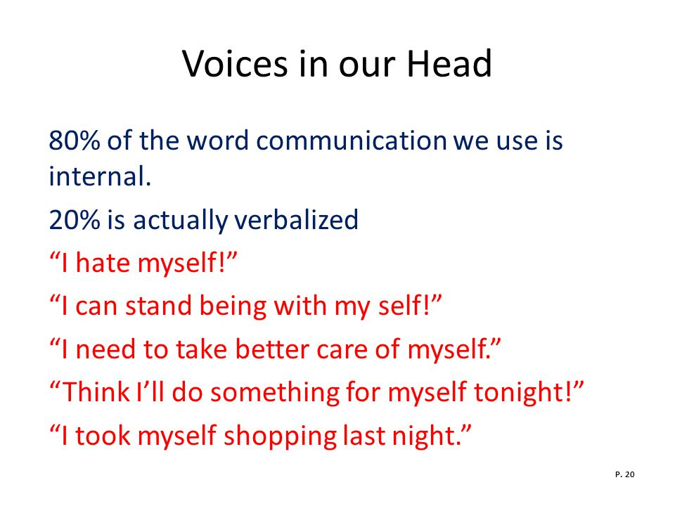 Voices in our Head 80% of the word communication we use is internal.