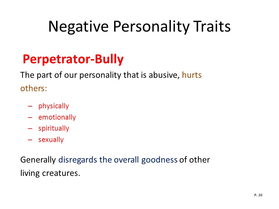 Negative Personality Traits