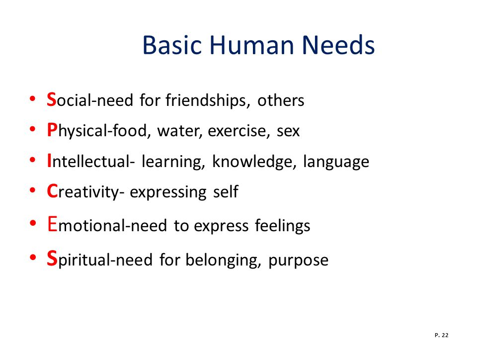 Basic Human Needs Emotional-need to express feelings