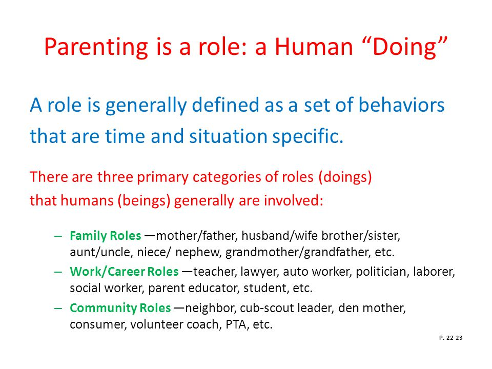 Parenting is a role: a Human Doing