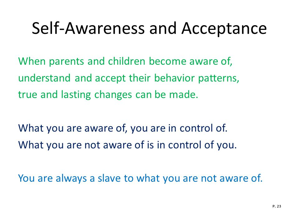 Self-Awareness and Acceptance