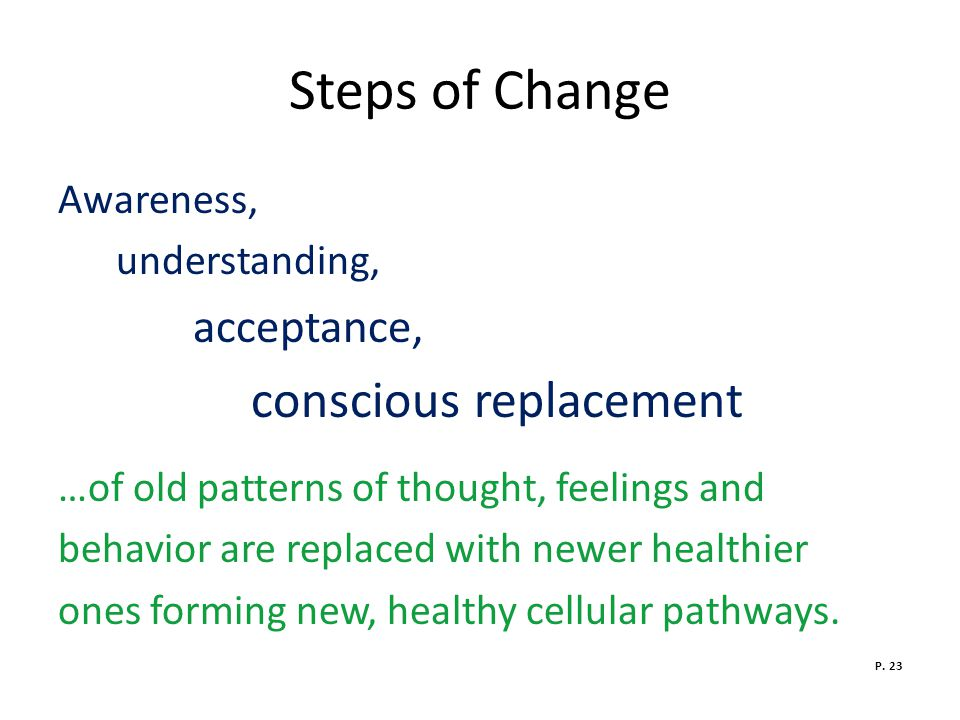 Steps of Change Awareness, understanding, acceptance,