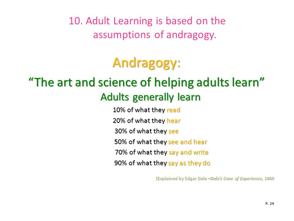10. Adult Learning is based on the assumptions of andragogy.