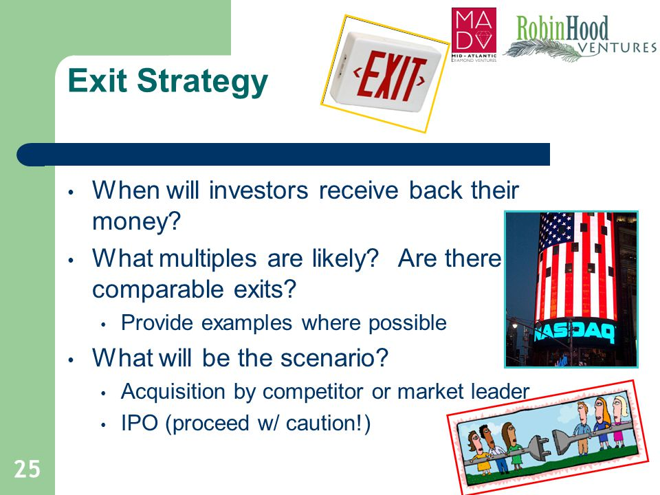 Exit Strategy When will investors receive back their money