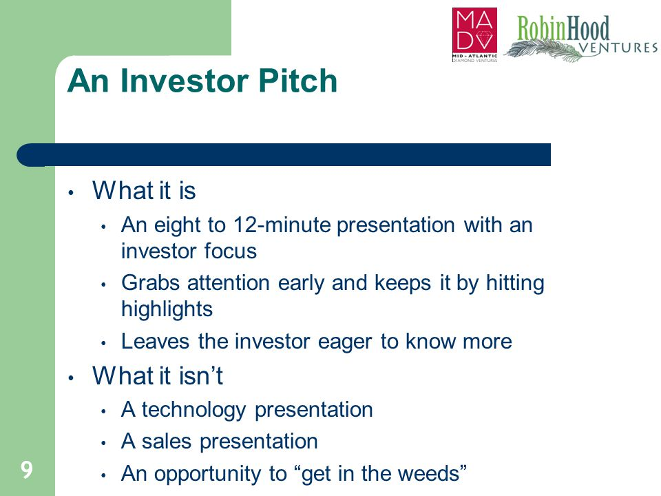 An Investor Pitch What it is What it isn't