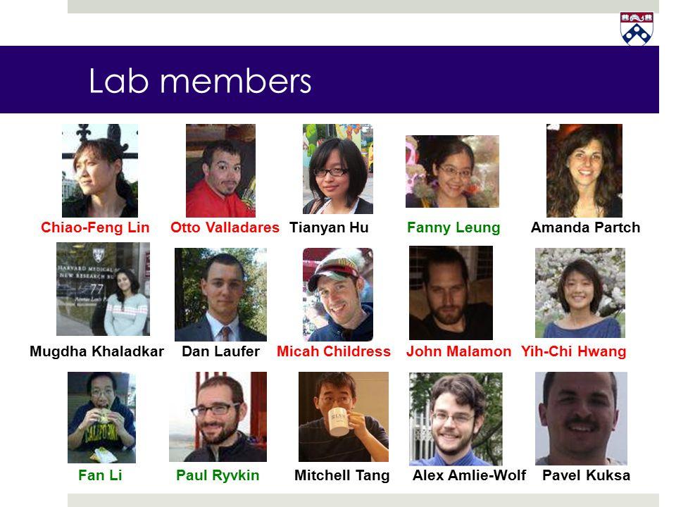 Lab members Chiao-Feng Lin Otto Valladares Tianyan Hu Fanny Leung