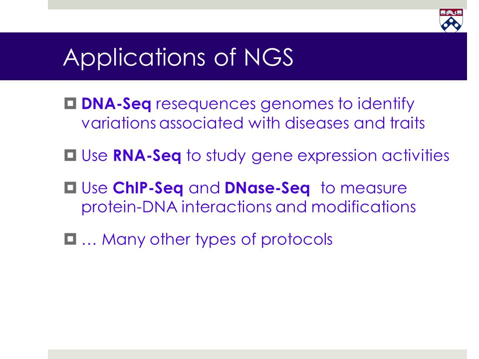 Applications of NGS DNA-Seq resequences genomes to identify variations associated with diseases and traits.