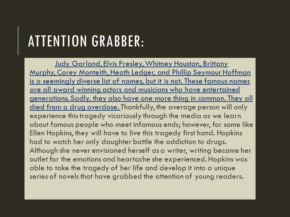 Attention grabber: