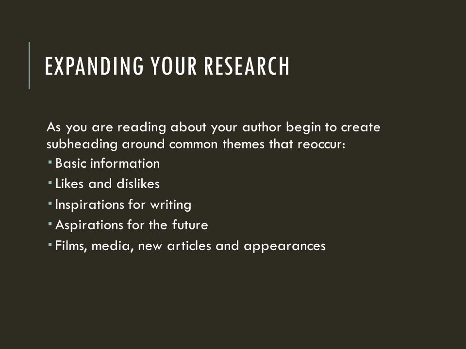 Expanding your research